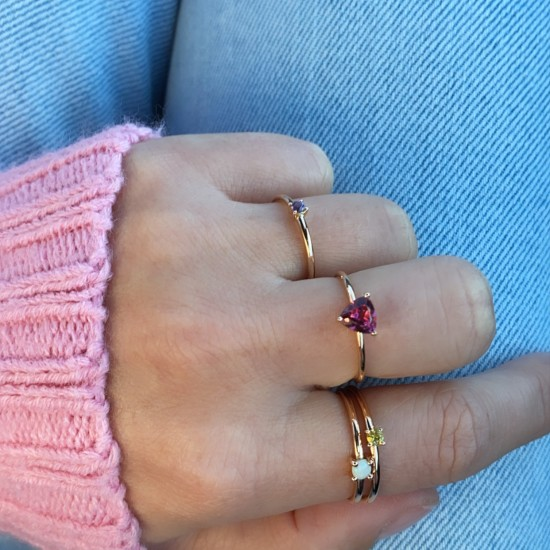 colored stone rings